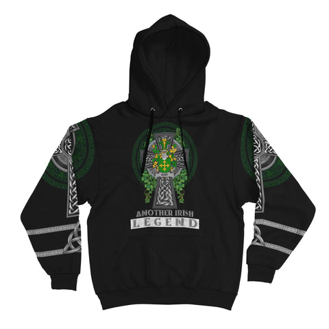 Image of Irish Celtic Hoodie, Bury or Berry Family Crest Shamrock Pullover Hoodie Golden Style A7