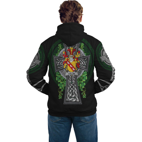 Irish Celtic Hoodie, Callan or O'Callan Family Crest Shamrock Pullover Hoodie Golden Style A7
