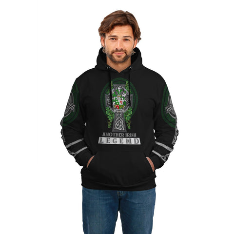 Image of Irish Celtic Hoodie, Conroy or O'Conry Family Crest Shamrock Pullover Hoodie Golden Style A7