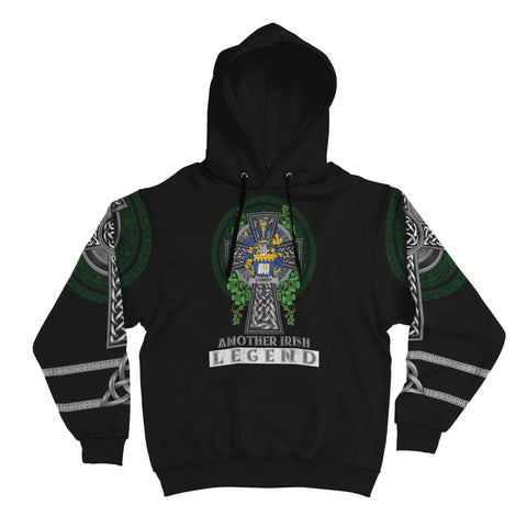 Image of Irish Celtic Hoodie, Conroy or O'Mulconroy Family Crest Shamrock Pullover Hoodie Golden Style A7