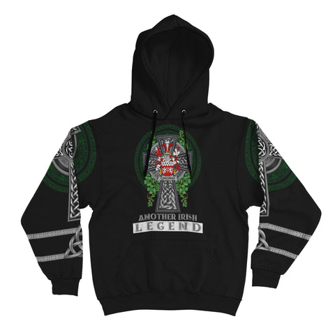 Image of Irish Celtic Hoodie, Corcoran or McCorcoran Family Crest Shamrock Pullover Hoodie Golden Style A7