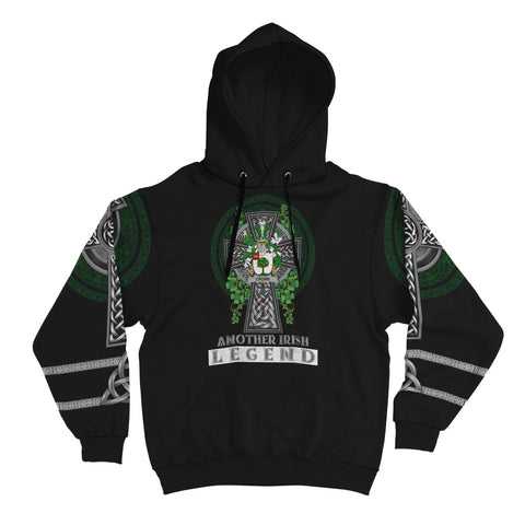Irish Celtic Hoodie, Crowe or McEnchroe Family Crest Shamrock Pullover Hoodie Golden Style A7
