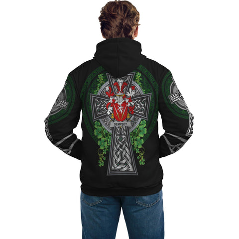 Irish Celtic Hoodie, Dempsey or O'Dempsey Family Crest Shamrock Pullover Hoodie Golden Style A7