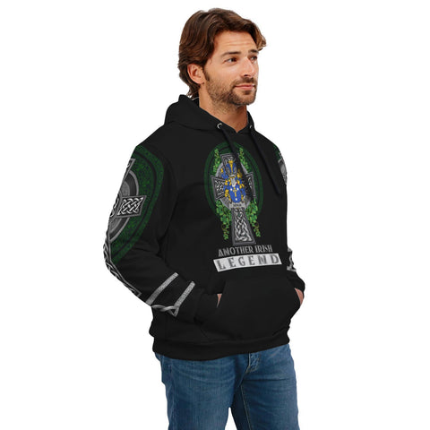 Image of Irish Celtic Hoodie, Devlin or O'Devlin Family Crest Shamrock Pullover Hoodie Golden Style A7