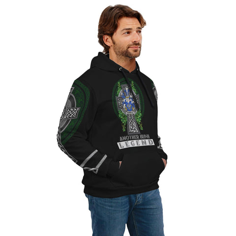 Irish Celtic Hoodie, Fennelly or O'Fennelly Family Crest Shamrock Pullover Hoodie Golden Style A7