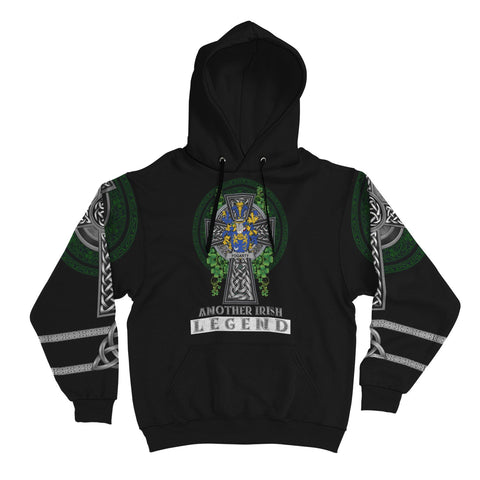 Irish Celtic Hoodie, Fogarty or O'Fogarty Family Crest Shamrock Pullover Hoodie Golden Style A7