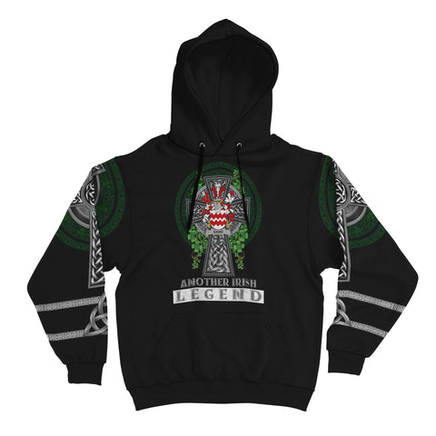 Image of Irish Celtic Hoodie, Gaine or Gainey Family Crest Shamrock Pullover Hoodie Golden Style A7