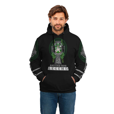 Irish Celtic Hoodie, Hawkins or Haughan Family Crest Shamrock Pullover Hoodie Golden Style A7