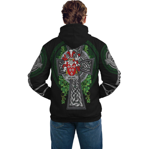 Image of Irish Celtic Hoodie, Ireland Family Crest Shamrock Pullover Hoodie Golden Style A7