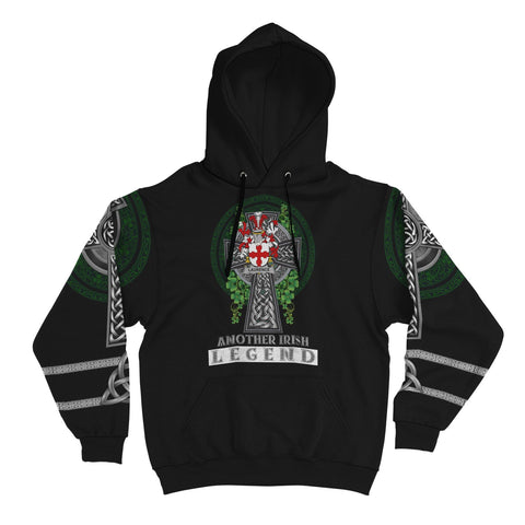 Irish Celtic Hoodie, Laurence Family Crest Shamrock Pullover Hoodie Golden Style A7