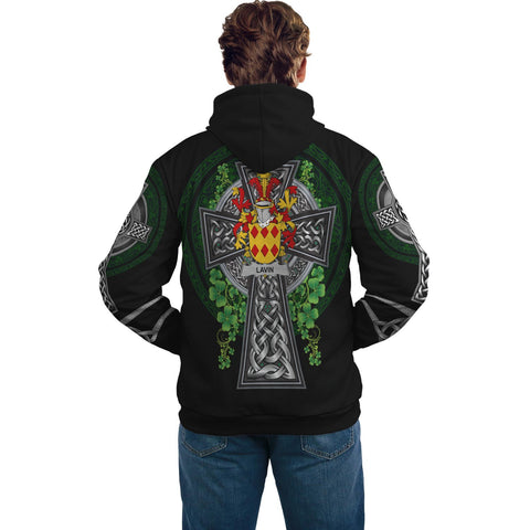 Irish Celtic Hoodie, Lavin or O'Lavin Family Crest Shamrock Pullover Hoodie Golden Style A7