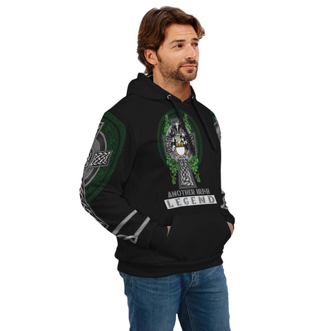Image of Irish Celtic Hoodie, Lawless Family Crest Shamrock Pullover Hoodie Golden Style A7