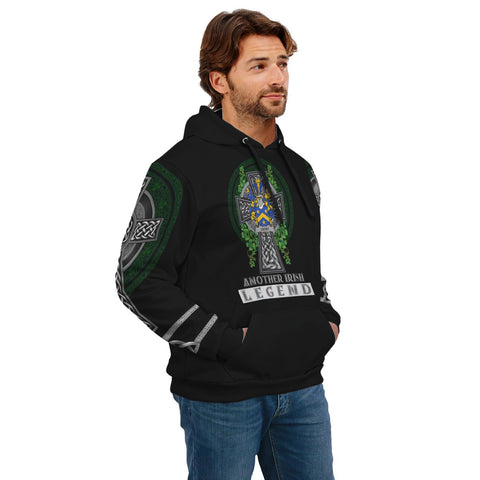 Image of Irish Celtic Hoodie, Lecky or Lackey Family Crest Shamrock Pullover Hoodie Golden Style A7