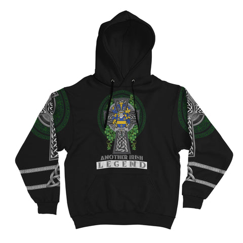 Image of Irish Celtic Hoodie, Lester or McAlester Family Crest Shamrock Pullover Hoodie Golden Style A7