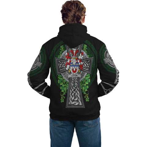 Irish Celtic Hoodie, Litton Family Crest Shamrock Pullover Hoodie Golden Style A7