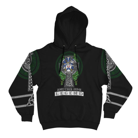 Irish Celtic Hoodie, Lonergan or O'Lonergan Family Crest Shamrock Pullover Hoodie Golden Style A7