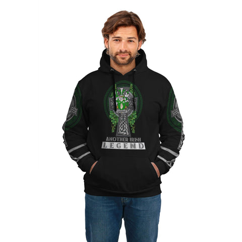 Irish Celtic Hoodie, Loughnan or O'Loughnan Family Crest Shamrock Pullover Hoodie Golden Style A7