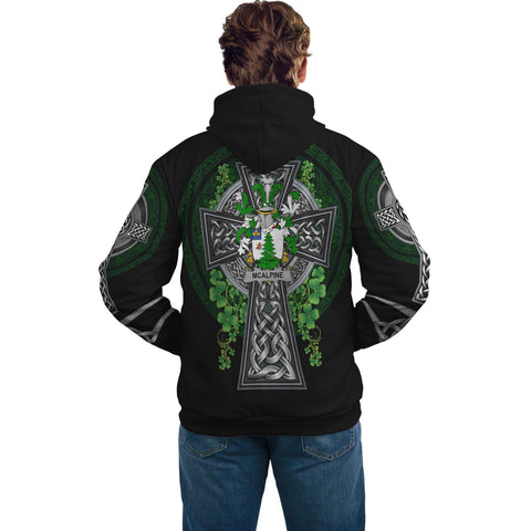 Irish Celtic Hoodie, McAlpine or MacAlpin Family Crest Shamrock Pullover Hoodie Golden Style A7