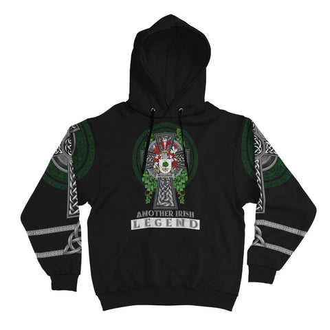 Irish Celtic Hoodie, McCluskie or McCloskie Family Crest Shamrock Pullover Hoodie Golden Style A7
