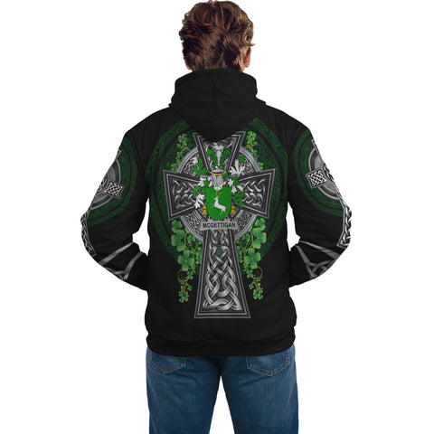 Irish Celtic Hoodie, McGettigan or Gethin Family Crest Shamrock Pullover Hoodie Golden Style A7