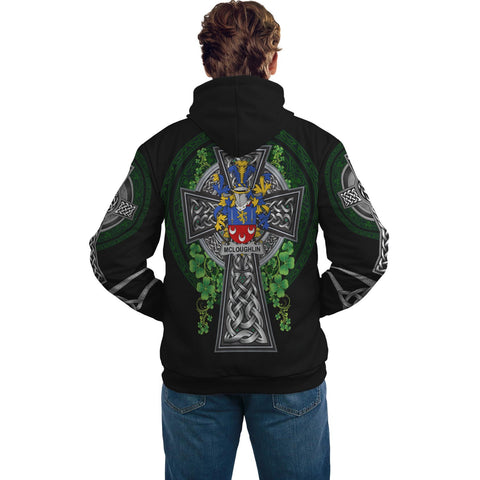 Irish Celtic Hoodie, McLoughlin or Loughlin Family Crest Shamrock Pullover Hoodie Golden Style A7