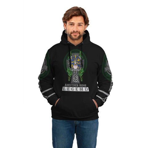 Image of Irish Celtic Hoodie, McLysacht or Lysacht Family Crest Shamrock Pullover Hoodie Golden Style A7