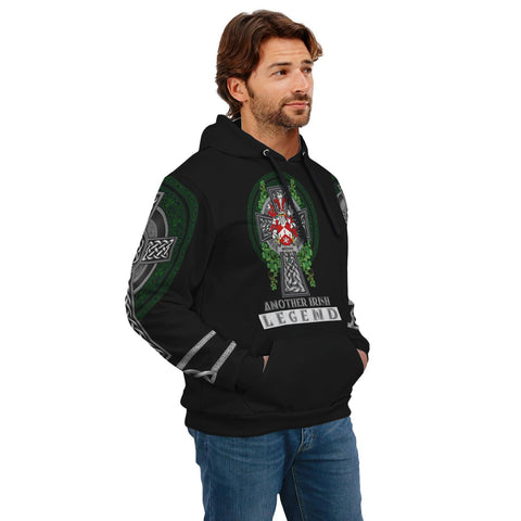 Image of Irish Celtic Hoodie, Meehan or O'Meighan Family Crest Shamrock Pullover Hoodie Golden Style A7