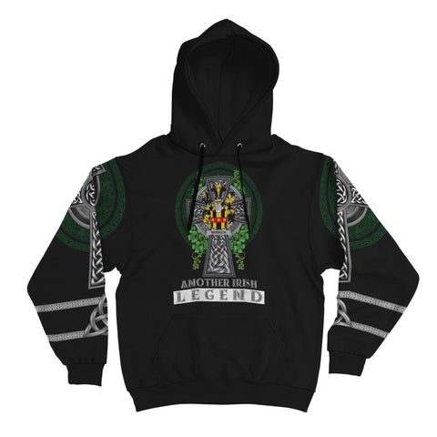Image of Irish Celtic Hoodie, Merrick or Meyrick Family Crest Shamrock Pullover Hoodie Golden Style A7