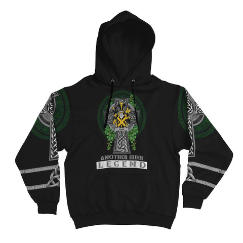 Irish Celtic Hoodie, Nunn Family Crest Shamrock Pullover Hoodie Golden Style A7