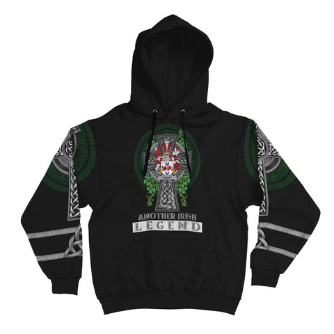 Irish Celtic Hoodie, Ogilby Family Crest Shamrock Pullover Hoodie Golden Style A7