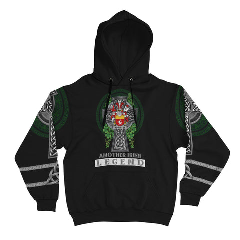 Image of Irish Celtic Hoodie, Quillan or McQuillan Family Crest Shamrock Pullover Hoodie Golden Style A7