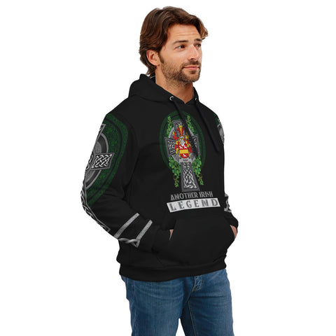 Image of Irish Celtic Hoodie, Rush Family Crest Shamrock Pullover Hoodie Golden Style A7