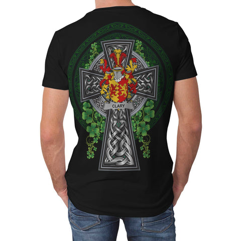 Image of Irish Celtic Cross Shirt, Clary or O'Clary. Family Crest T-Shirt A7