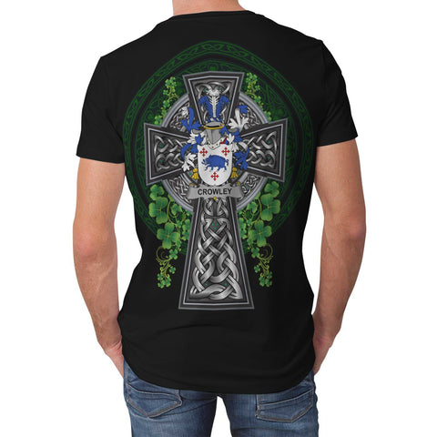 Irish Celtic Cross Shirt, Crowley or O'Crouley Family Crest T-Shirt A7