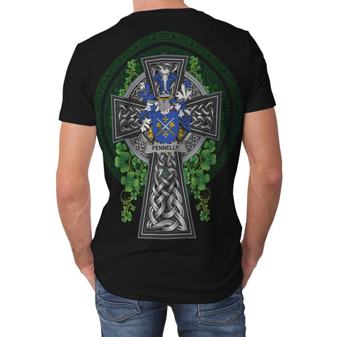 Image of Irish Celtic Cross Shirt, Fennelly or O'Fennelly Family Crest T-Shirt A7