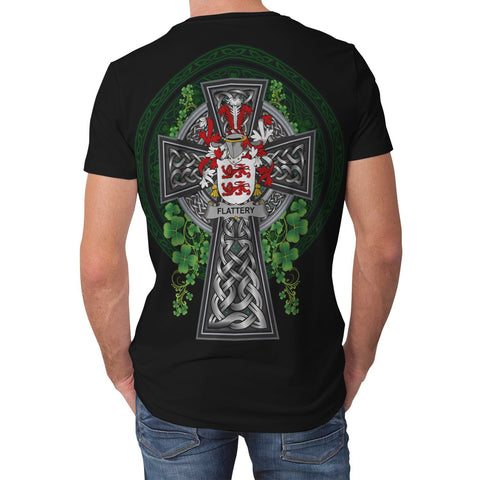 Image of Irish Celtic Cross Shirt, Flattery or O'Flattery Family Crest T-Shirt A7