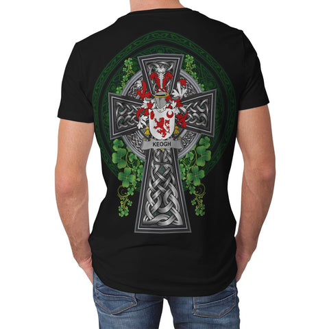 Image of Irish Celtic Cross Shirt, Keogh or McKeogh Family Crest T-Shirt A7