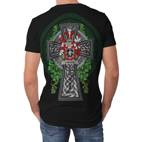 Image of Irish Celtic Cross Shirt, Lawder or Lauder Family Crest T-Shirt A7