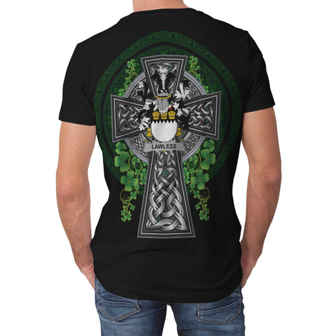 Irish Celtic Cross Shirt, Lawless Family Crest T-Shirt A7