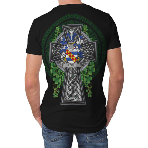 Irish Celtic Cross Shirt, Leigh or McLaeghis Family Crest T-Shirt A7