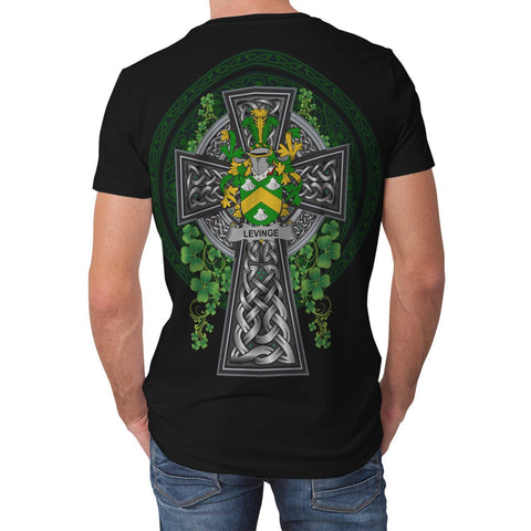 Irish Celtic Cross Shirt, Levinge or Levens Family Crest T-Shirt A7