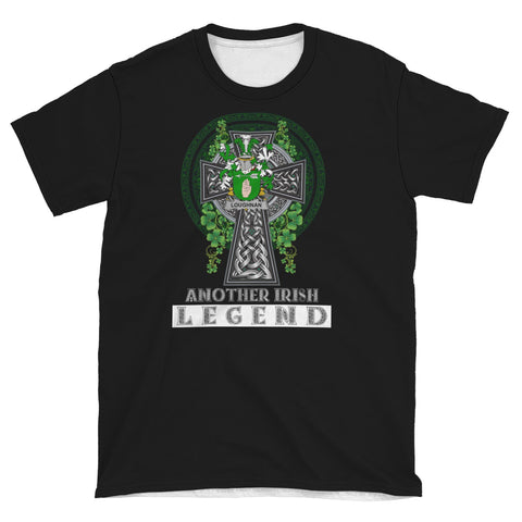 Irish Celtic Cross Shirt, Loughnan or O'Loughnan Family Crest T-Shirt A7