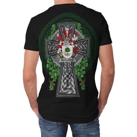 Irish Celtic Cross Shirt, McCluskie or McCloskie Family Crest T-Shirt A7