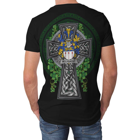 Image of Irish Celtic Cross Shirt, McLysacht or Lysacht Family Crest T-Shirt A7