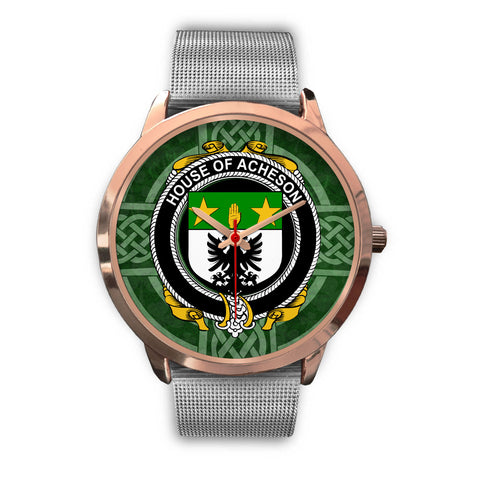 Image of Irish Watches, Acheson Family Crest Rose Gold Ireland Watches