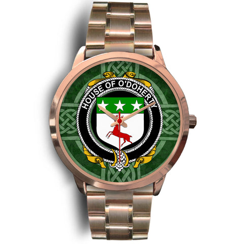 Irish Watches, Doherty or O'Doherty Family Crest Rose Gold Ireland Watches