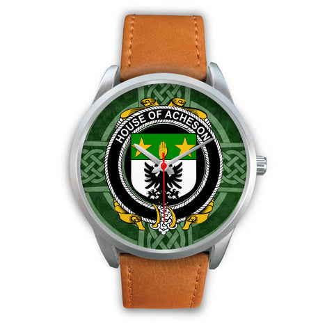 Image of Irish Watches, Acheson Family Crest Silver Ireland Watches