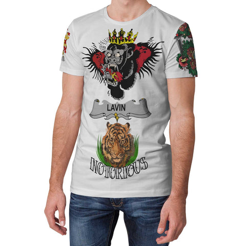Irish Lion Shirt, Lavin or O'Lavin Family Crest Notorious T-Shirt A7