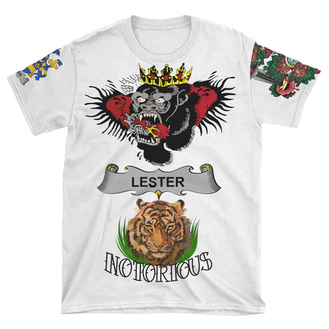 Irish Lion Shirt, Lester or McAlester Family Crest Notorious T-Shirt A7