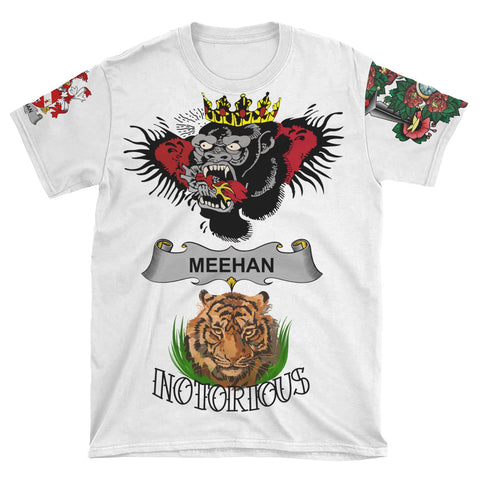 Irish Lion Shirt, Meehan or O'Meighan Family Crest Notorious T-Shirt A7